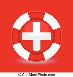 Lifebuoy with medical cross icon