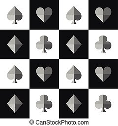 Card Suit Chess Board Black White