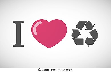 """I love"" hieroglyph with a recycle sign"