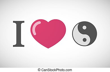 """I love"" hieroglyph with a ying yang"