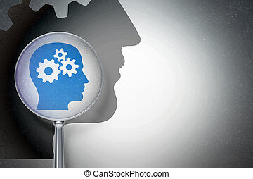 Education concept:  Head With Gears with optical glass on digital background