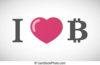 """I love"" hieroglyph with a bit coin sign"