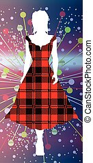 Girl In Tartan - Girl silhouette walking out in a silk...