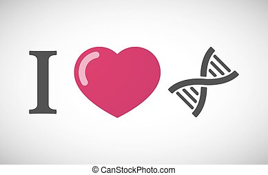 """I love"" hieroglyph with a DNA sign"