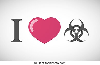 """I love"" hieroglyph with a biohazard sign"