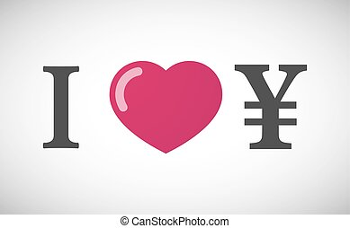 """I love"" hieroglyph with a yen sign"