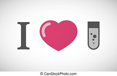 """""""I love"""" hieroglyph with a chemical test tube"""