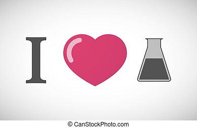 """I love"" hieroglyph with a flask"