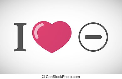 """I love"" hieroglyph with a subtraction sign"