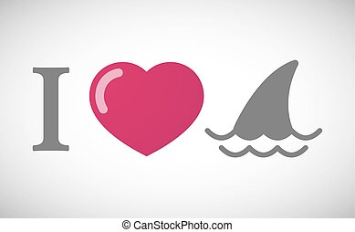 """I love"" hieroglyph with a shark fin - Illustration of an ""I..."