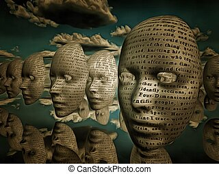 Faces of text hover in surreal space Text is from HG wells...