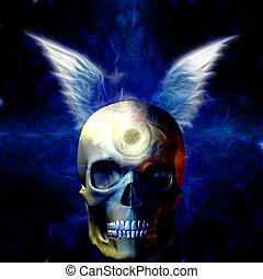 Winged Skull with Eye