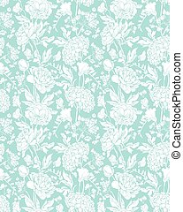 Seamless pattern with Realistic graphic flowers - sweet pea,...