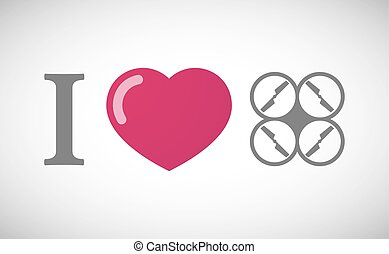"""""""I love"""" hieroglyph with a drone - Illustration of an """"I..."""