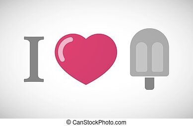 Vector Clipart of Red Heart Shaped Ice Cream With Bite Mark ...