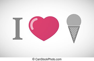 """I love"" hieroglyph with a cone ice cream"