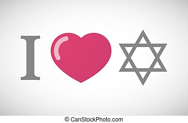 """""""I love"""" hieroglyph with a David star - Illustration of an..."""