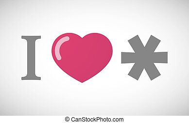 quot;I lovequot; hieroglyph with an asterisk - Illustration...