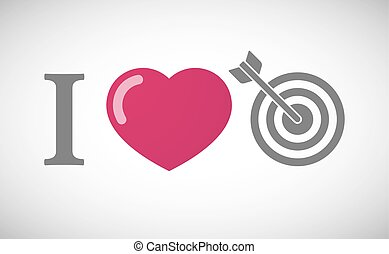 quot;I lovequot; hieroglyph with a dart board - Illustration...