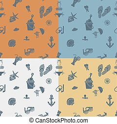 Four Background in Different Colors, Summer and Beach Vector...