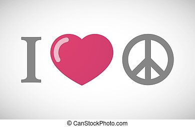 quot;I lovequot; hieroglyph with a peace sign - Illustration...