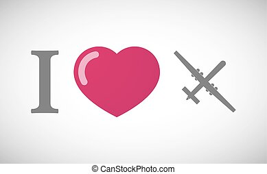 """I love"" hieroglyph with a war drone - Illustration of an ""I..."