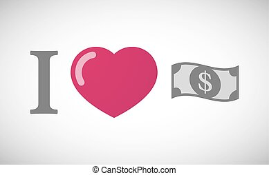 quot;I lovequot; hieroglyph with a dollar bank note -...