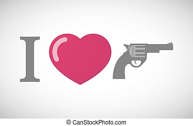 """I love"" hieroglyph with a gun"