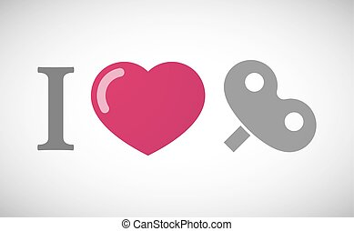 quot;I lovequot; hieroglyph with a toy crank - Illustration...