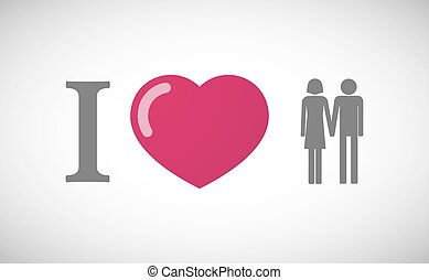 quot;I lovequot; hieroglyph with a heterosexual couple...