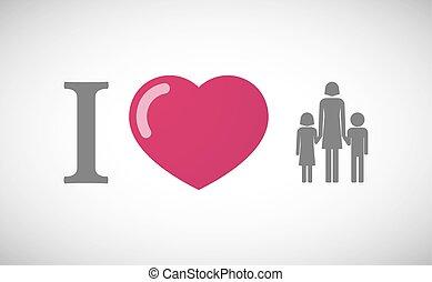 """""""I, love"""", jeroglífico, con, Un, hembra,..."""