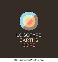 Earths crust the core section abstract geodesic flat icon...