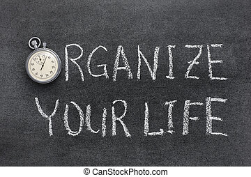 organize your life phrase handwritten on chalkboard with...