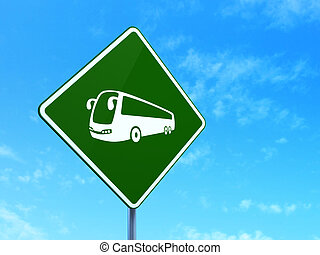 Vacation concept: Bus on road sign background - Vacation...