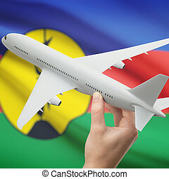 Airplane in hand with flag on background - New Caledonia -...