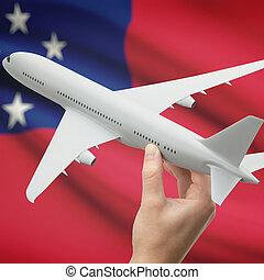 aeroplano, in, mano, con, bandiera, su, fondo, -, Samoa,
