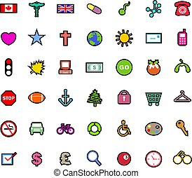 icons - A set of simple colourful icons covering a range of...