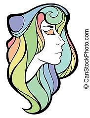 Vector decorative portrait of shaman girl with rainbow long...