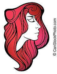 Vector decorative portrait of shaman girl with pink long...