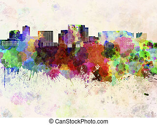 Cambridge MA skyline in watercolor background