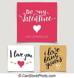 Brush calligraphy love cards set Handwritten text isolated...