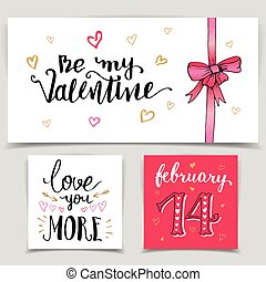 Brush calligraphy love cards set Handwritten lettering...