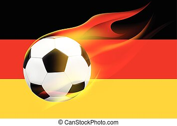 Fire soccer ball on German flag - Realistic flying soccer...