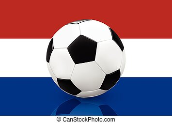 Soccer ball on Netherlands flag - Realistic soccer ball...