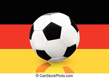 Soccer ball on German flag - Realistic soccer ball football...