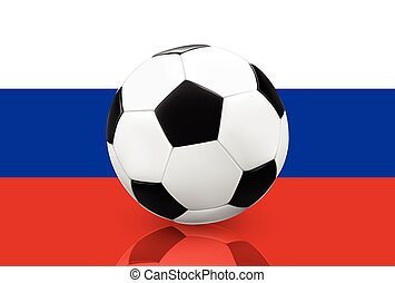 Soccer ball on Russian flag - Realistic soccer ball football...