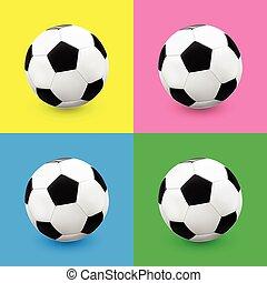 Soccer balls on colour background - Soccer ball football set...