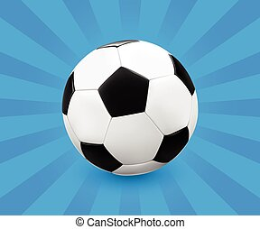 Soccer ball on blue background - Soccer ball football on...