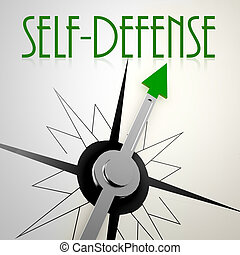 Self defense on green compass. Concept of healthy lifestyle