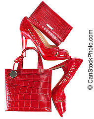 Female accessory - Female red accessory isolated on white...
